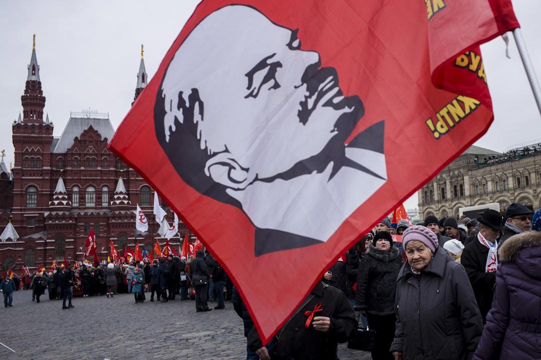 2017年11月5日:俄羅斯的共產黨支持者慶祝俄國十月革命一百週年。