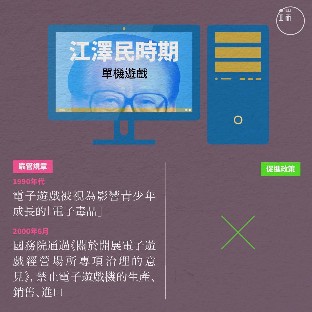 江澤民時期對於中國遊戲的嚴管規章和促進政策。