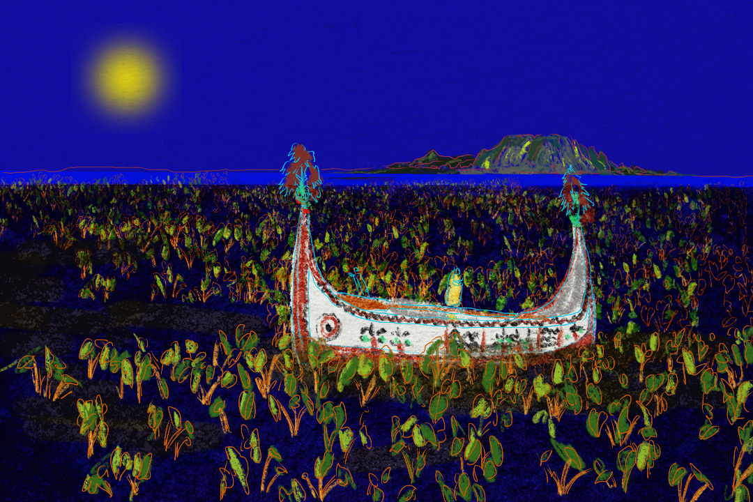 謝福美的第一部紀錄片,取名為《男人的海洋,女人的水芋田》。達悟文化中,海洋由男人主導,陸地的工作則交給女性,部落的家庭分工才令島嶼完整。 圖:Tsengly / 端傳媒