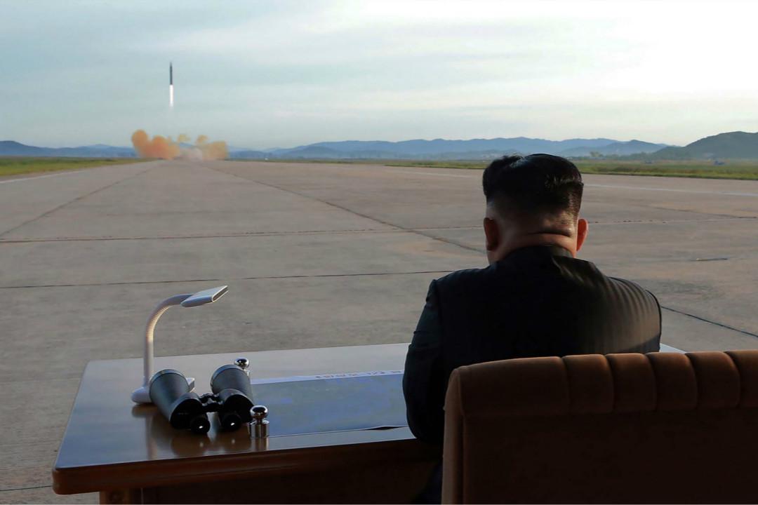2017年9月16日,北韓最高領導人金正恩視察彈道導彈發射試驗。 攝:Getty Images