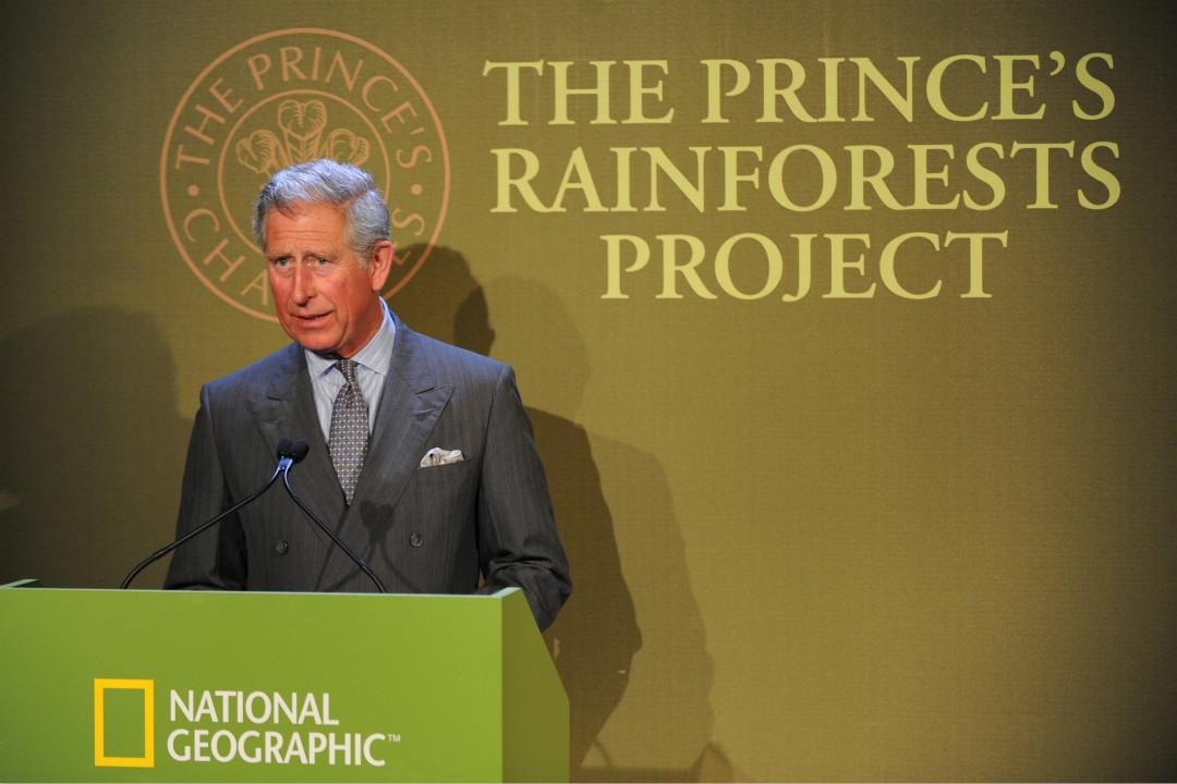 2009年5月5日,英國查理斯王子在倫敦啟動「王子雨林項目」(Prince's Rainforests Project),呼籲保護熱帶雨林。 攝:Anwar Hussein/Getty Images