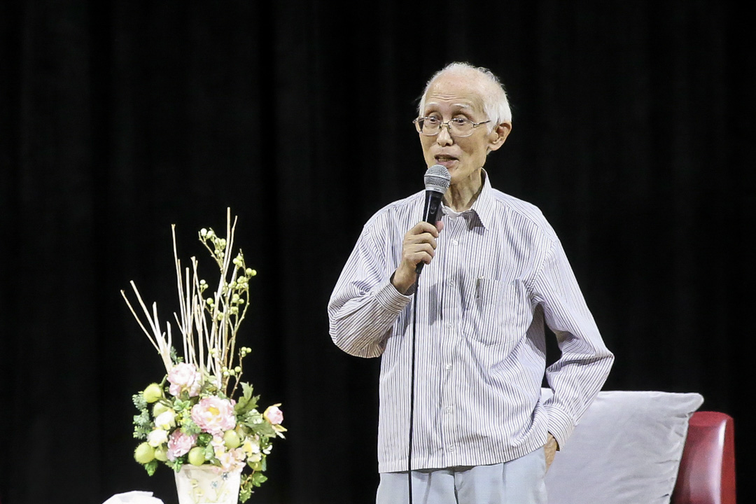 詩人余光中於12月14日病逝於高雄醫學大學附設醫院,享壽89歲。圖為  2015年11月24日,余光中出席講座時情況。 攝:Imagine China