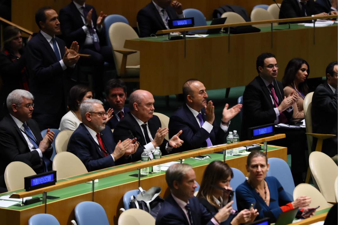 12月21日,美國紐約,聯合國大會召開緊急會議,以129票贊成、9票反對通過決議,宣布美國承認耶路撒冷為以色列首都無效。 攝: Abdulhamid Hosbas/Getty Images