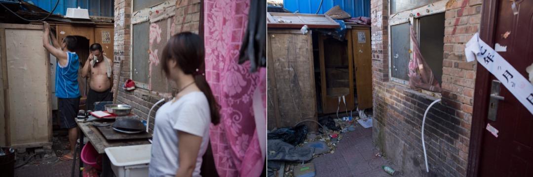 2017年6月20日,村民嘗試用木板在屋外搭建一個淋浴間。