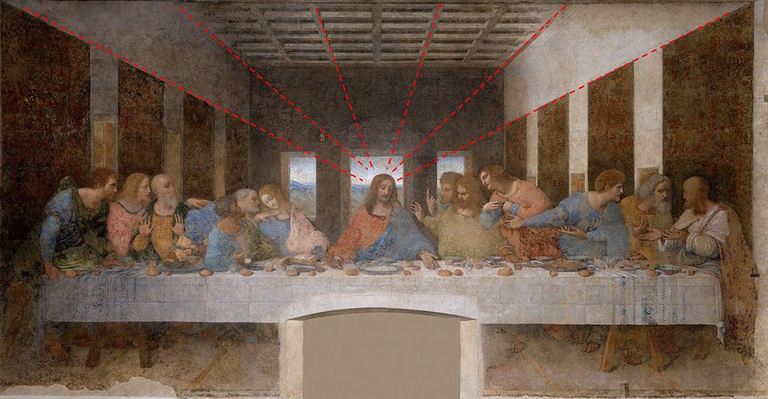 採用透視投影的達芬奇名作《最後的晚餐》。