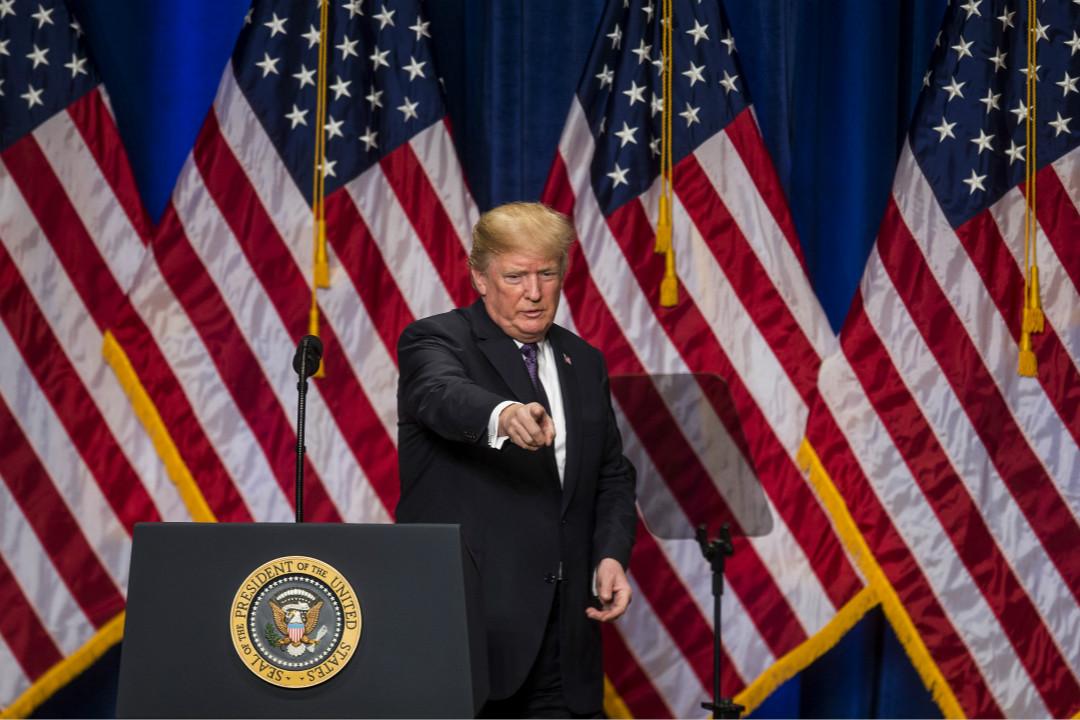 2017年12月18日,美國總統特朗普在華盛頓特區的羅納德·列根大廈就新的國家安全戰略報告發表演講。 攝:Zach Gibson/Getty Images