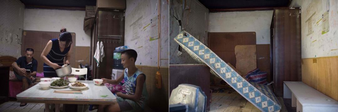 2017年8月17日,一位女士從房間裏走到房間外的小廚房中做飯。
