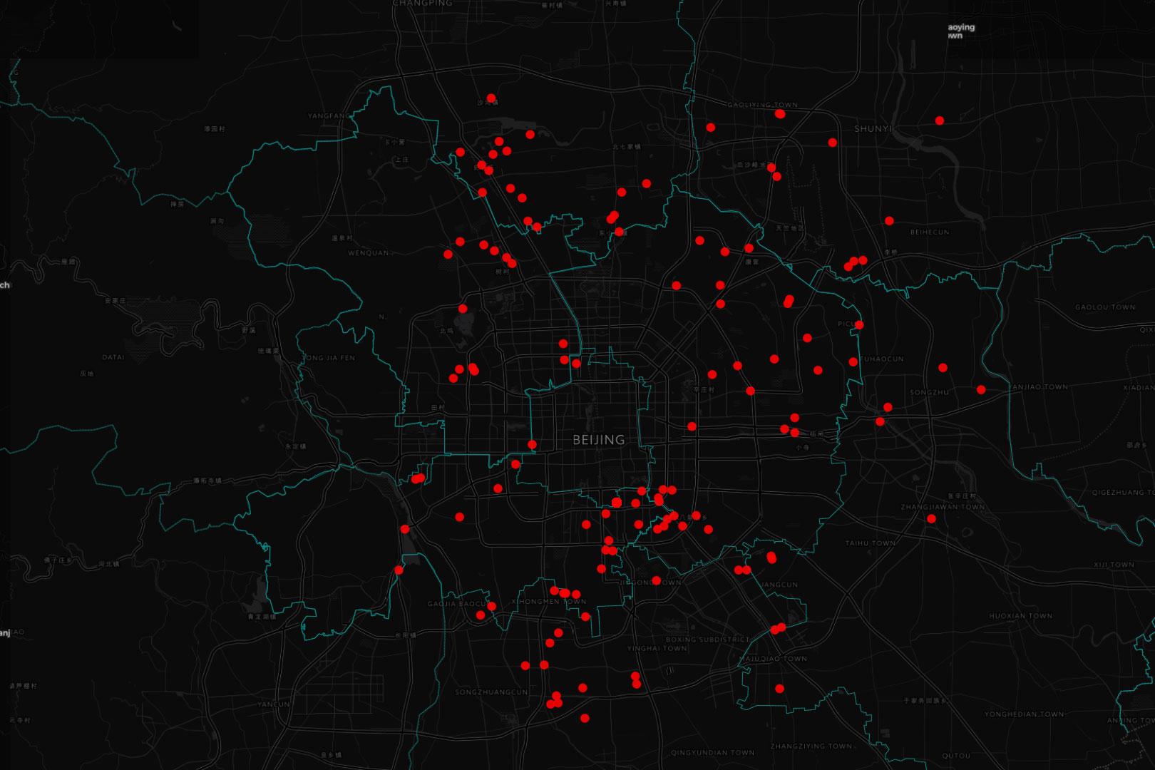 北京清理安全隱患點分佈圖,根據目前收集到的數據,朝陽區受影響地點最多,達84處。 圖:端傳媒