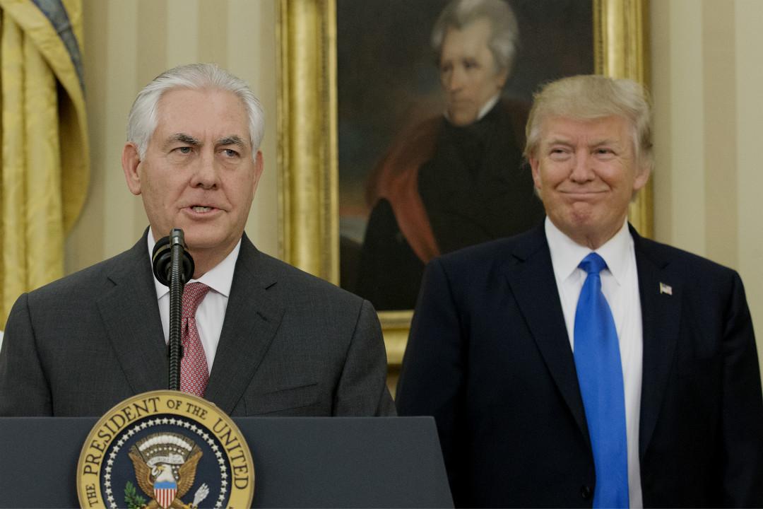 2017年2月1日,蒂勒森(Rex Tillerson)在白宮舉行出任國務卿宣誓儀式後發表講話。 攝:Michael Reynolds/Getty Images
