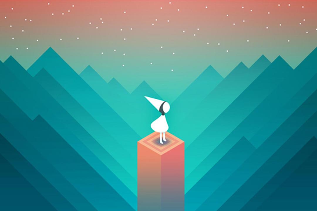 《紀念碑谷》遊戲是利用空間視錯覺手段創造出的「不可能世界」的傑出代表。 遊戲截圖