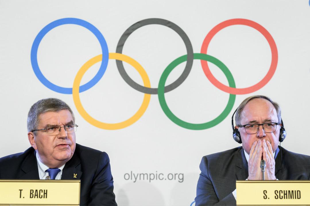 2017年12月5日,國際奧委會在瑞士洛桑舉行會議,決定禁止涉有組織興奮劑醜聞的俄羅斯參加2018年平昌冬奧會。 攝:Fabrice Coffrini/Getty Images