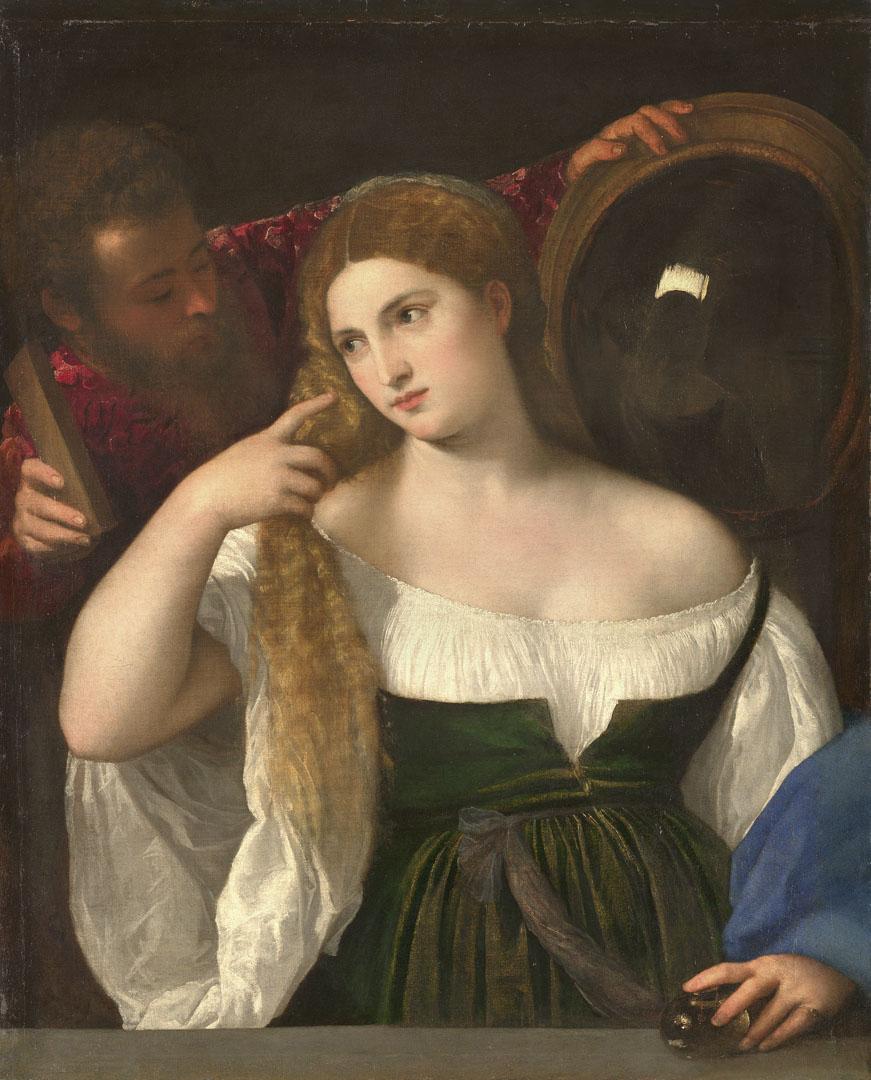 提香的《梳粧的女人》(la Femme au Miroir, Titian)。