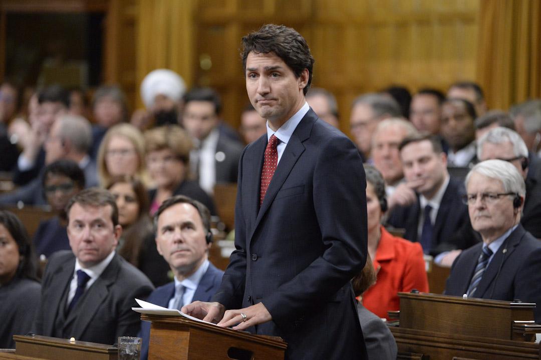穆斯林女孩撒謊事件其後矛頭指向加拿大總理特魯多,理由是他沒有弄清楚事情緣由前就聲援了撒謊女孩。圖為2017年1月30日,加拿大總理特魯多在國會就魁北克清真寺槍擊事件發表講話。