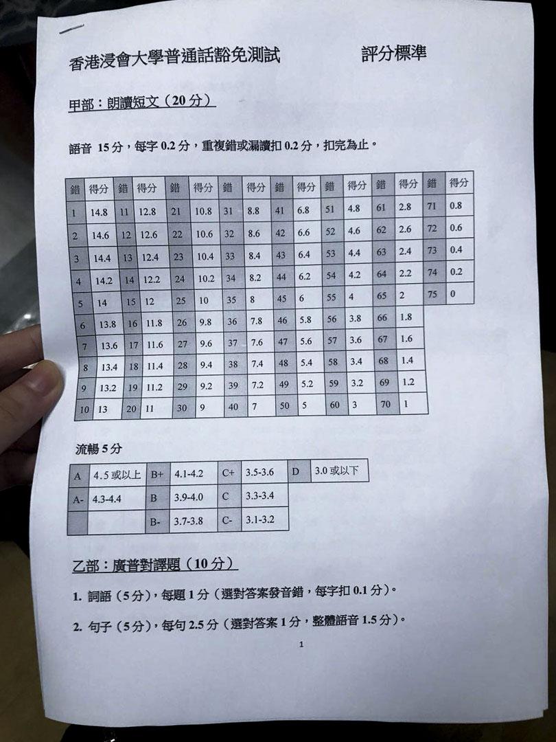 浸大學生會會長劉子頎向《端傳媒》提供1月17日從副校長周偉立手中獲得的評分準則相片。