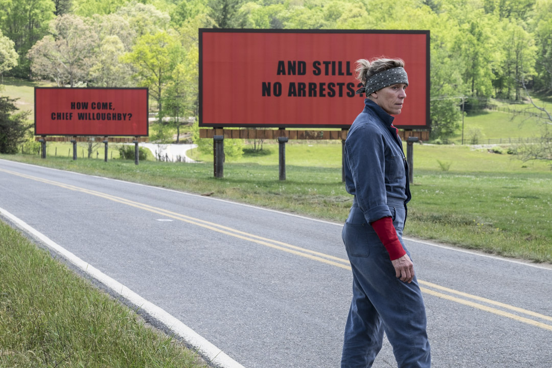 《廣告牌殺人事件》(Three Billboards Outside Ebbing, Missouri)電影劇照。 攝:Imagine China