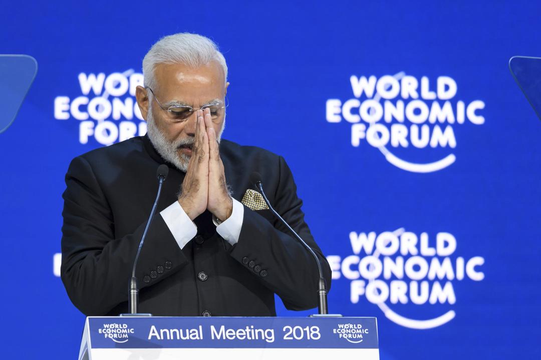 印度總理莫迪(Narendra Modi)在論壇開幕式上,表明希望將印度的經濟規模翻倍、至5萬億美元,並邀請全球投資者到印度建立製造業務。
