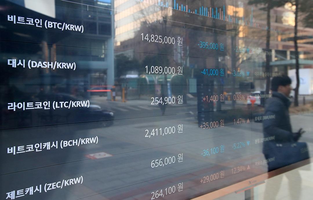 2018年1月19日,首爾的比特幣牌價。
