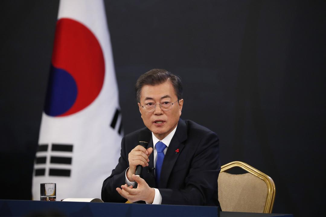 1月10日,南韓總統文在寅出席記者會,罕有地承認在對北韓政策上與美國存在分歧。