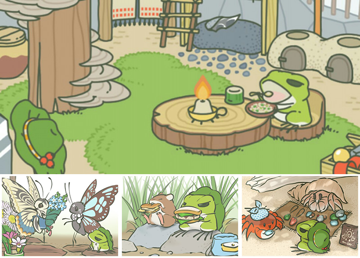 《旅行青蛙》遊戲截圖。