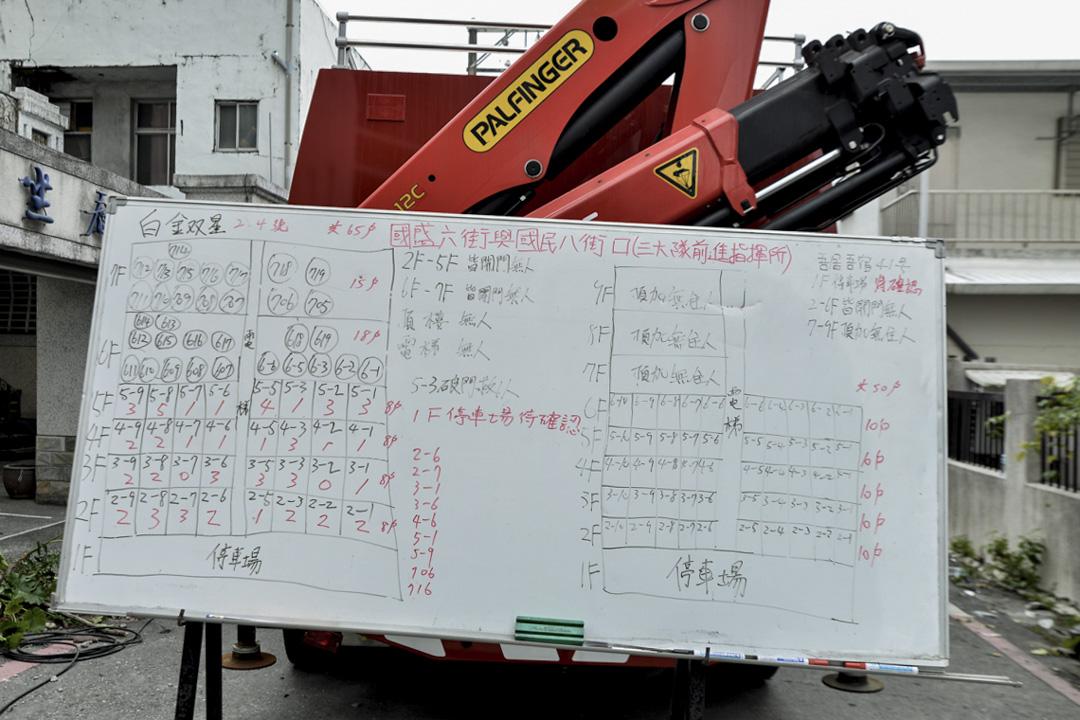 下午一時三十分,雙金大樓寫的工作白板,記錄了災場的最新資料。
