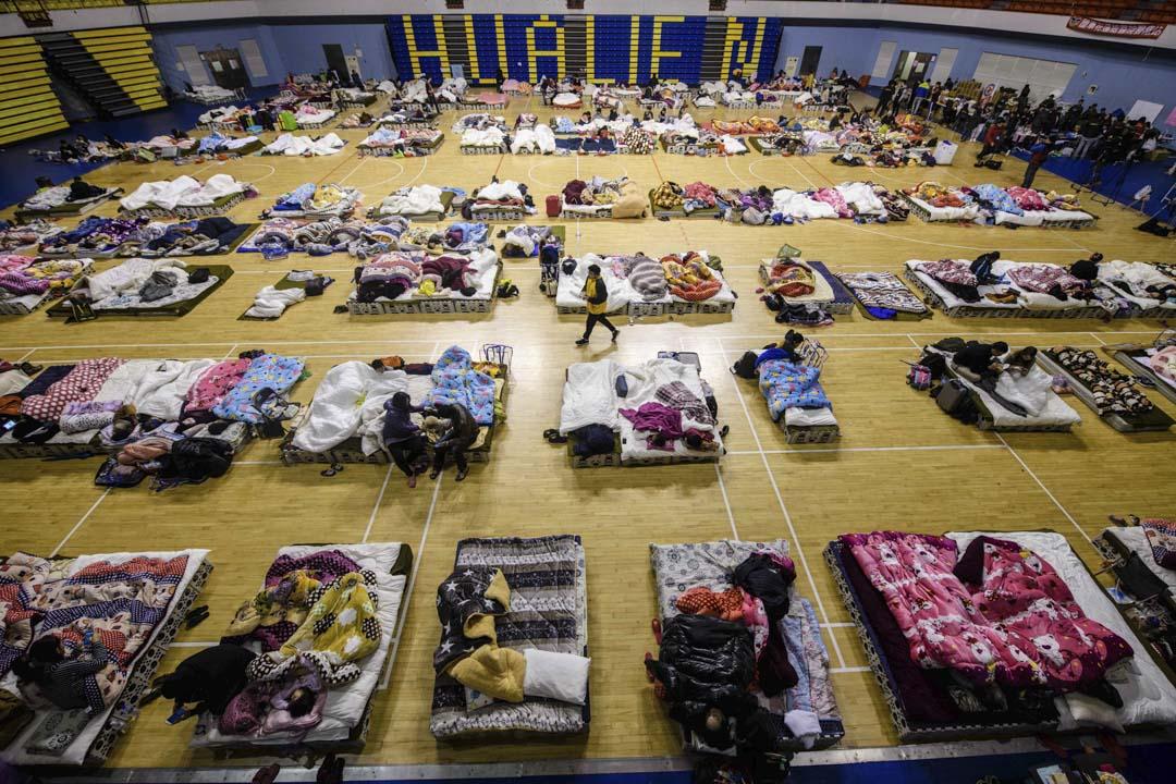 2018年2月7日,花蓮地震發生後,當地的體育館成為臨時避難所。