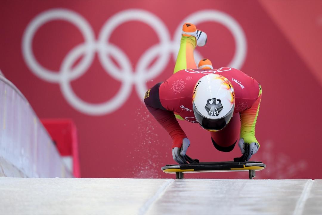 2018年2月13日,德國選手 Alexander Gassner 為男子俯式冰撬賽事進行練習滑行。