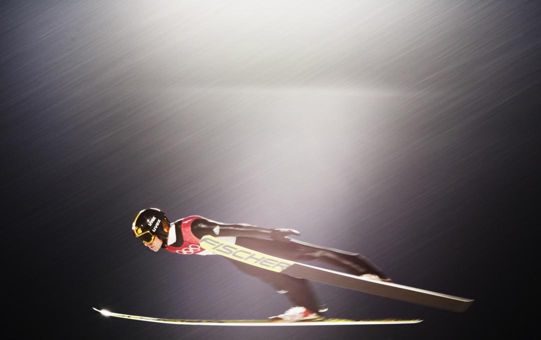 2018年2月16日,德國跳台滑雪選手 Andreas Wellinger 挑戰男子單人高台項目個人資格賽。