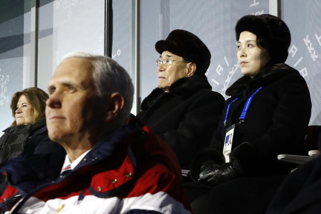 2月9日在南韓平昌冬季奧運會的開幕式上,美國副總統彭斯(Mike Pence)及北韓高級別代表團獲安排坐在前後排,但雙方全程未作任何交流。 攝:Patrick Semansky / Getty Images