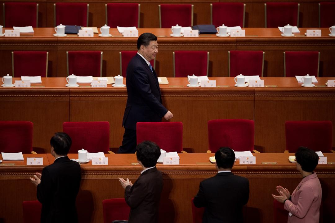 中共第十九屆中央委員會第三次全體會議(三中全會)自今天至週三(28日)在北京召開。圖為去年3月,中國國家主席習近平出席第十二屆全國人民代表大會第三次會議。 攝:Nicolas Asfouri / Getty Images