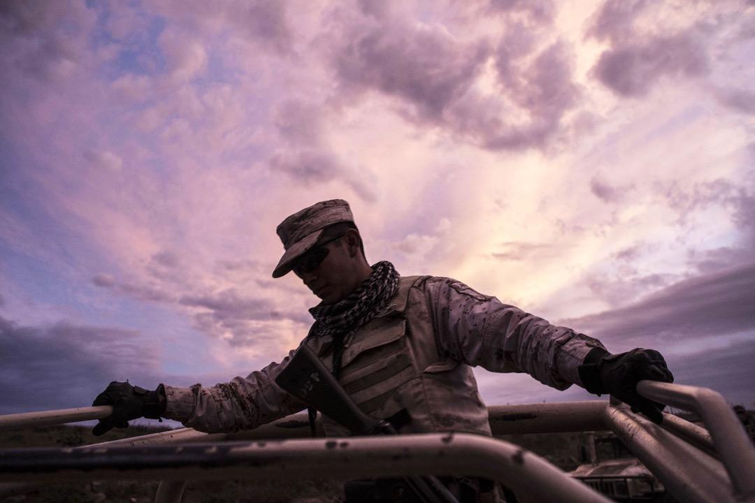 2018年3月22日,墨西哥,士兵在銷毀一個位於El Ajusco的非法大麻種植場後,坐車離開。