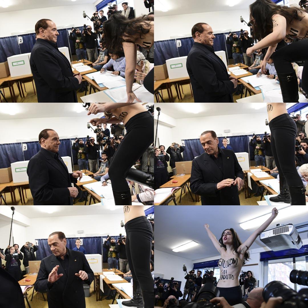 雖有司法禁令在身貝盧斯科尼仍高調宣布回歸意大利大選,再次成為媒體關注的焦點和輿論的引導者,搭配着意大利力量黨不斷走高的民調支持率和中右聯盟的領跑位置。圖為貝盧斯科尼投票時遭Femen成員裸體抗議。