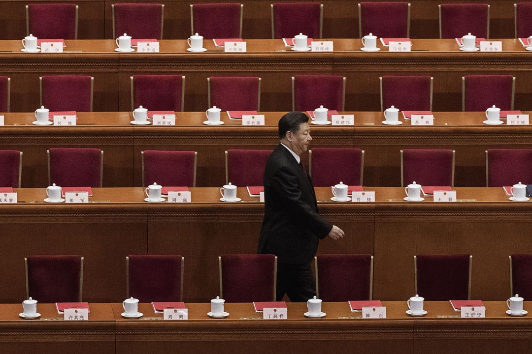 3月20日,中國國家主席習近平抵達北京人民大會堂,出席中國第十三屆全國人大一次會議閉幕式。 攝:Kevin Frayer / Getty Images