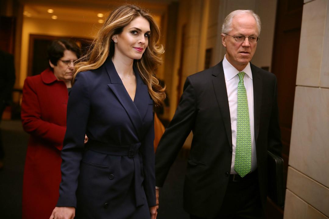 2月27日,白宮通訊總監兼總統顧問希克斯(Hope Hicks)前往國會大廈,出席眾議院情報委員會關於俄羅斯干預美國2016年大選的聽證會。 攝:Chip Somodevilla/Getty Images