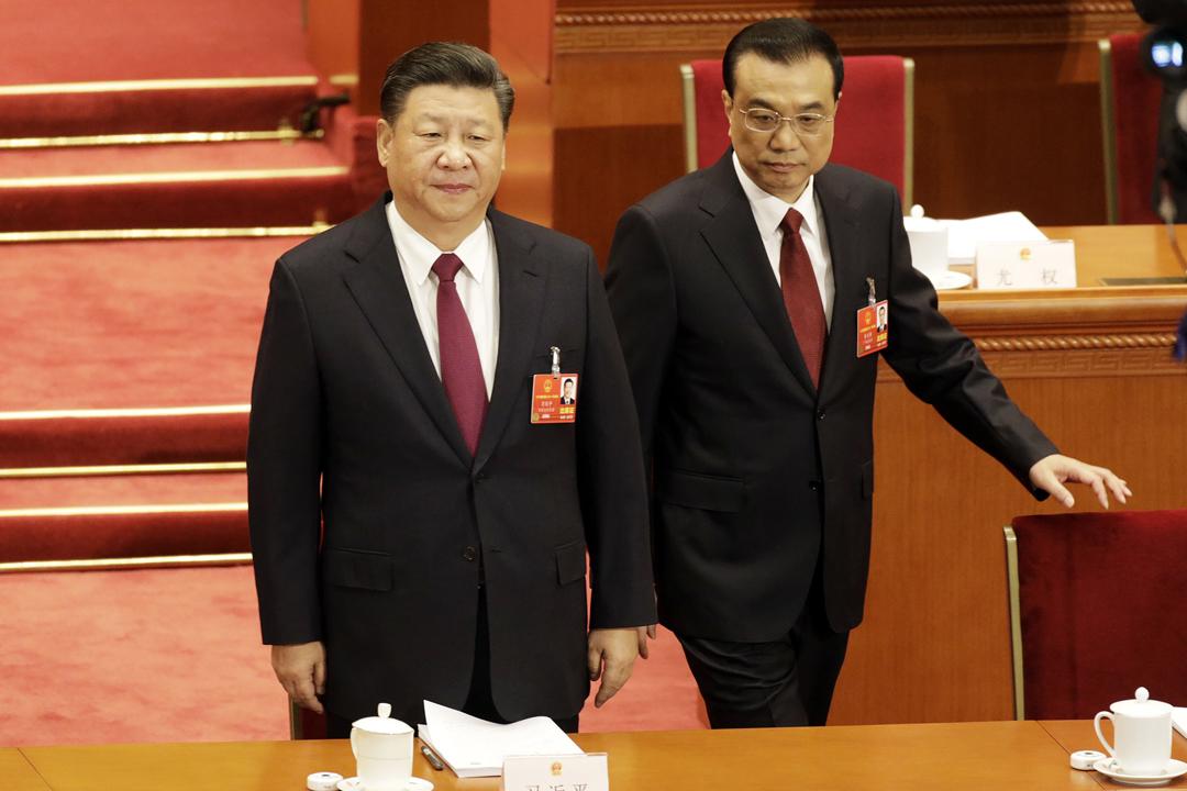 中國第十三屆全國人民代表大會今早在北京開幕。圖為中國國家主席習近平及國務院總理李克強。 攝:Qilai Shen / Getty Images
