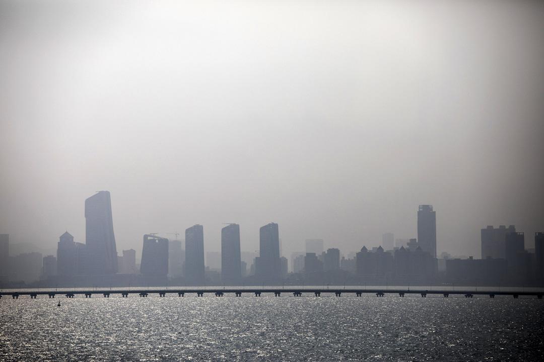 2018年3月28日,即將於2018年通車,連結珠海,香港和澳門三地的港珠澳大橋。  攝:Justin Chin/Bloomberg via Getty Images