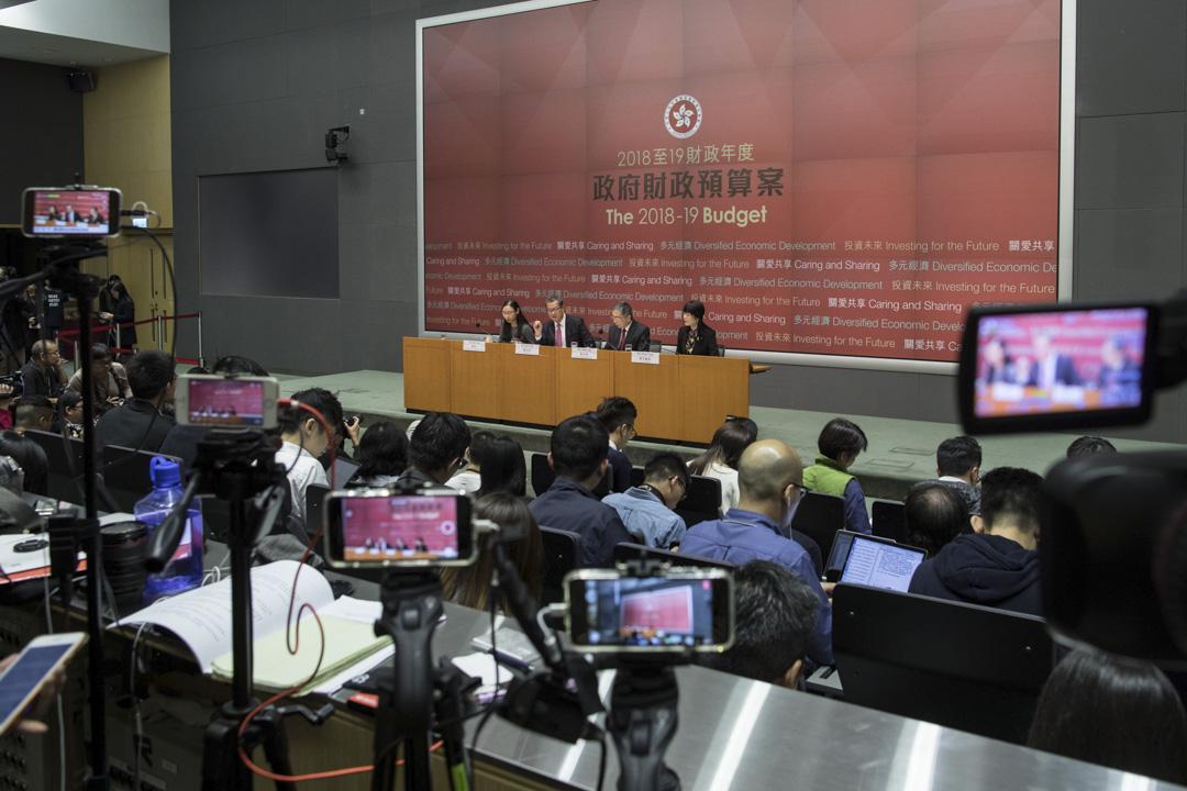 2018年2月28日,香港財政司司長陳茂波發表2018至2019年度《財政預算案》,於下午召開記者會回答記者對預算案的問題。