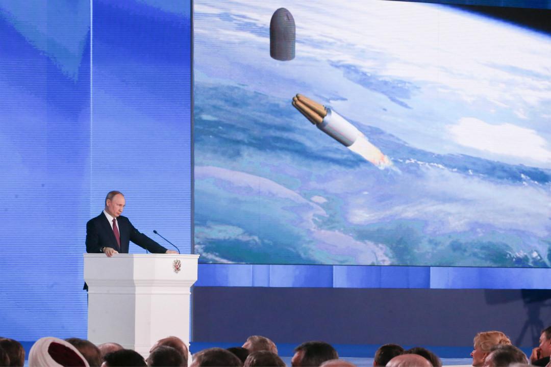 3月1日,俄羅斯總統普京發表國情咨文,介紹俄製新型核動力導彈。 攝:Marat Abulkhatin/Getty Images