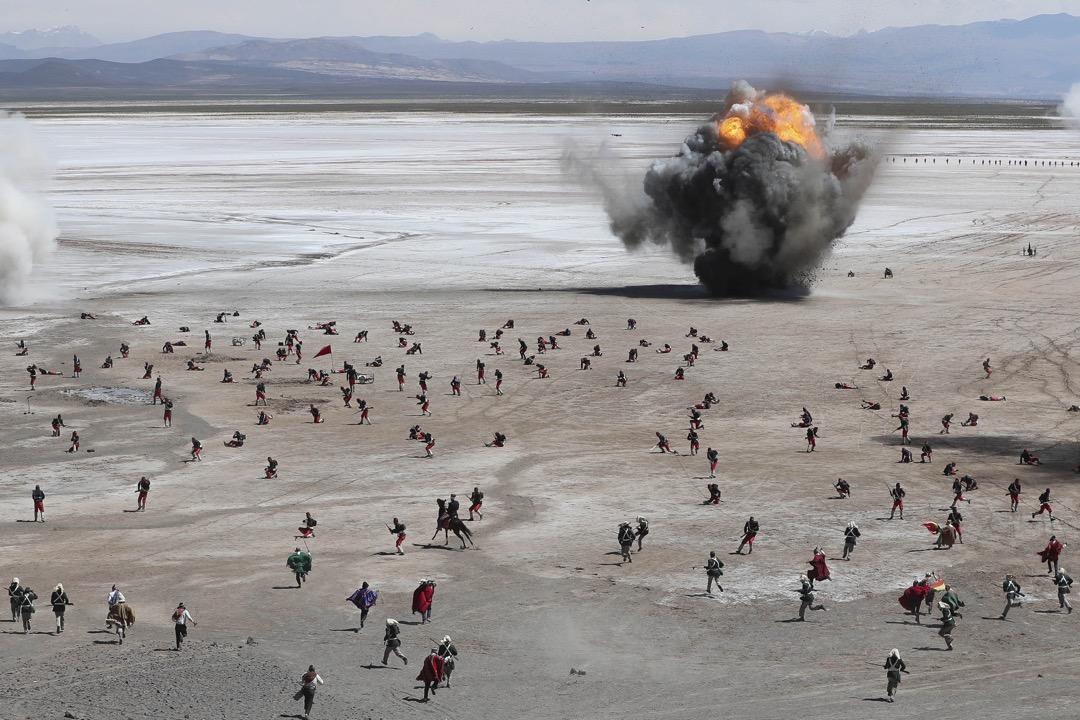 2018年3月28日,玻利維亞 Canchas Blancas (白色平原),玻利維亞軍隊重演1879年,太平洋戰爭中玻利維亞軍從智利手中取勝的一場戰役。