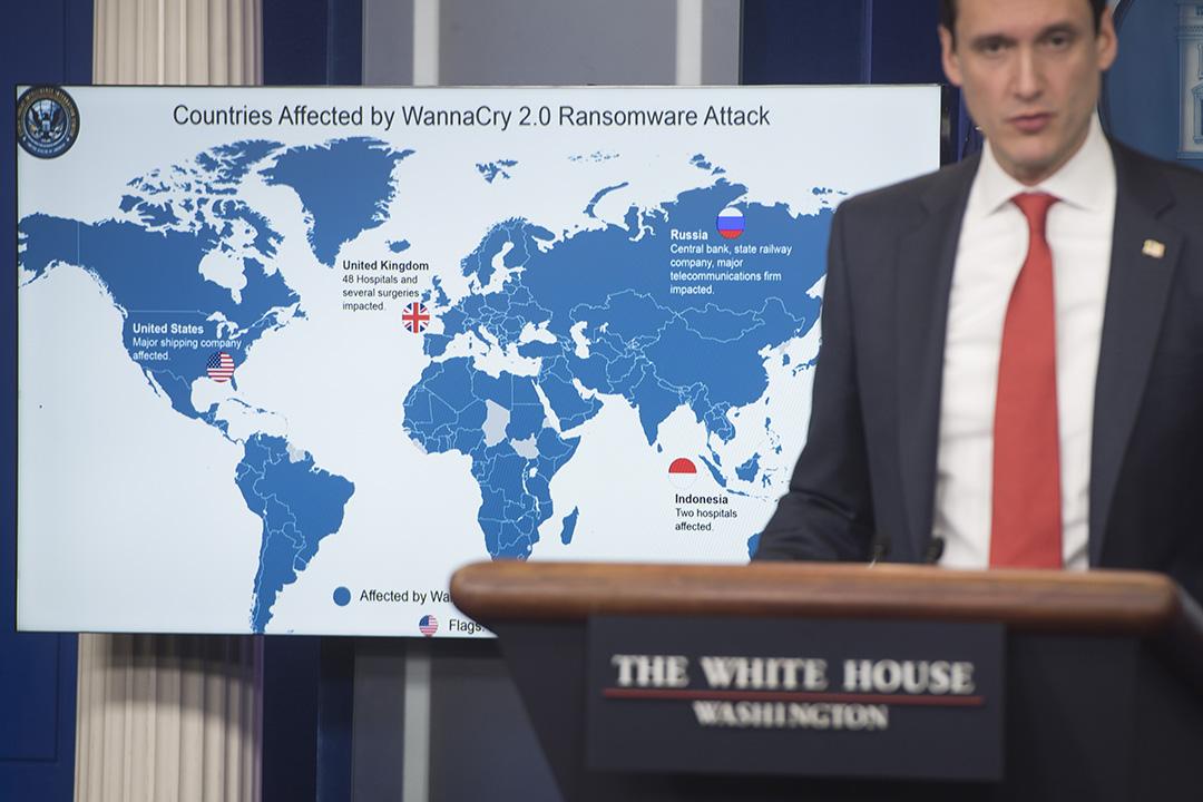 2017年12月,白宮國土安全顧問 Tom Bossert 指北韓要為該年5月影響全球的 WannaCry 電腦勒索病毒攻擊負責。