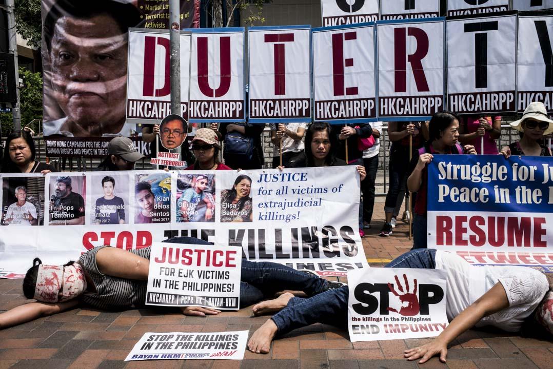 2018年4月12日,菲律賓移工工聯同多個人權組織,向訪港的菲律賓總統杜特地作出抗議,不滿他的高壓統治。