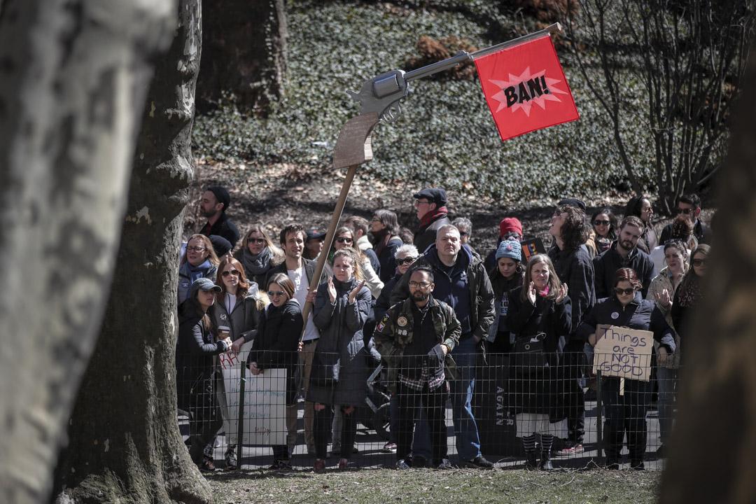 2018年3月24日,「為我們生命遊行」(March For Our Lives)遊行,示威者聚集在美國紐約中央公園聆聽講者發言。