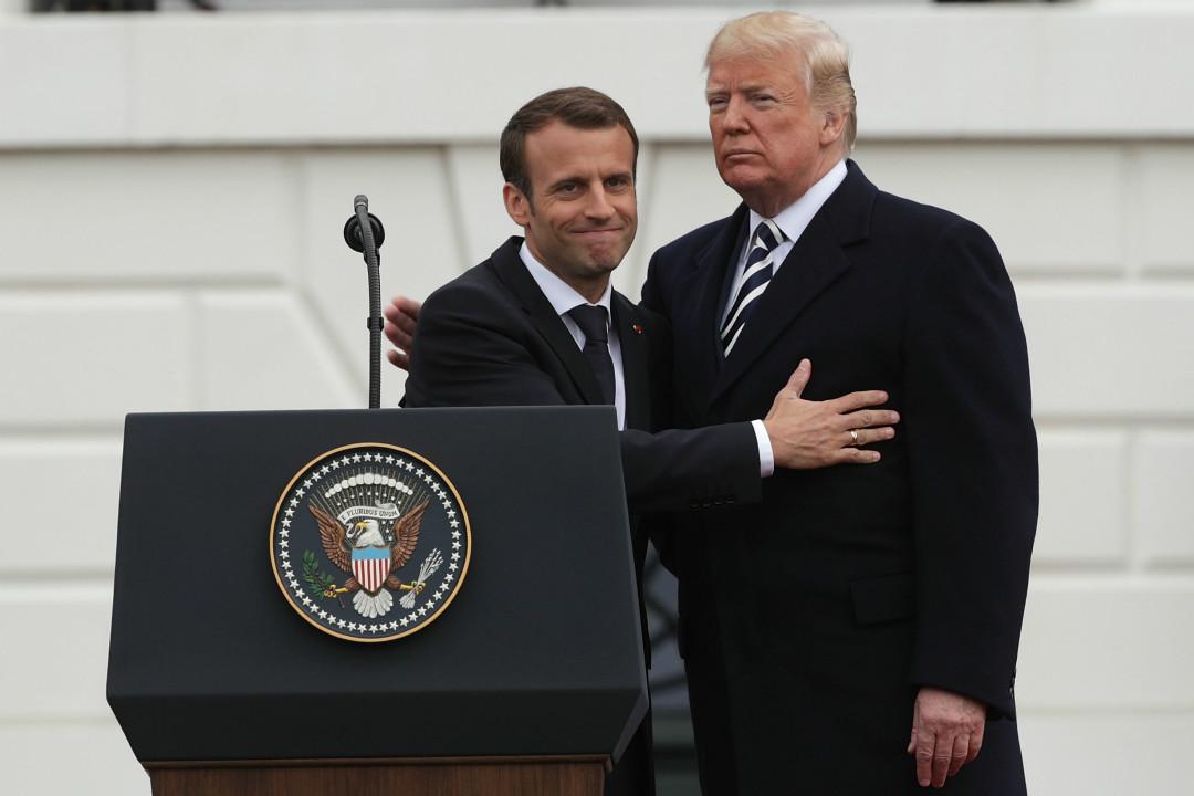 2018年4月24日,法國總統馬克龍與美國總統特朗普在白宮一同出席記者會。 攝:Alex Wong/Getty Images
