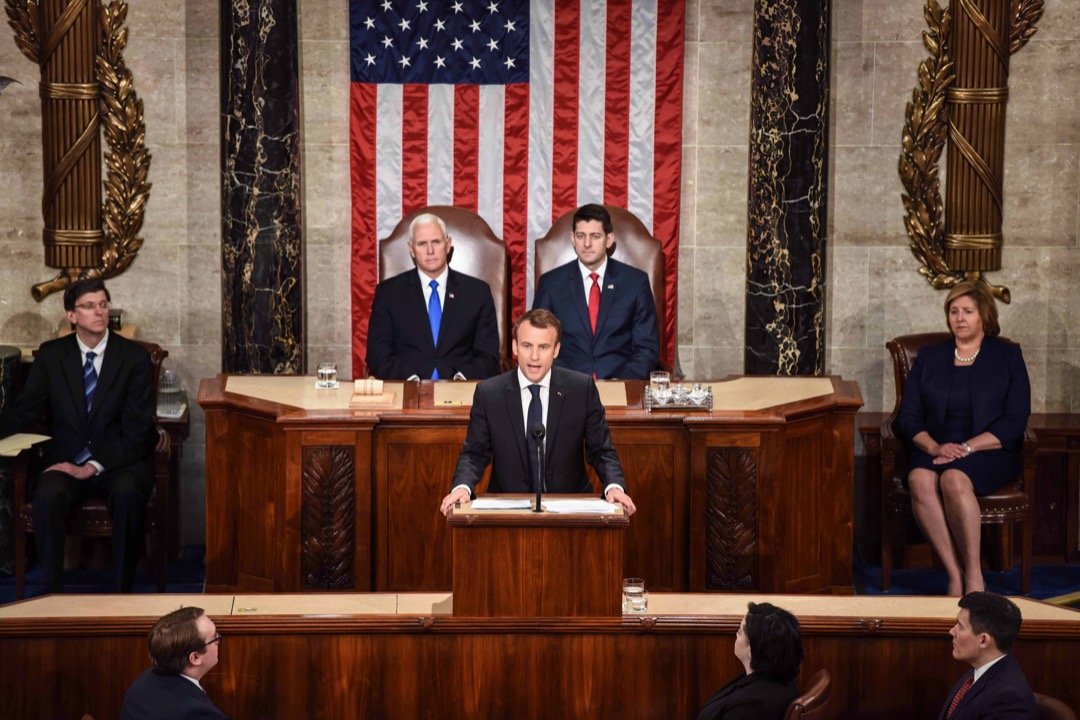 2018年4月25日,法國總統馬克龍國事訪問美國時,於美國國會發表演講。 攝:Deng Min/China News Service/VCG via Getty Images