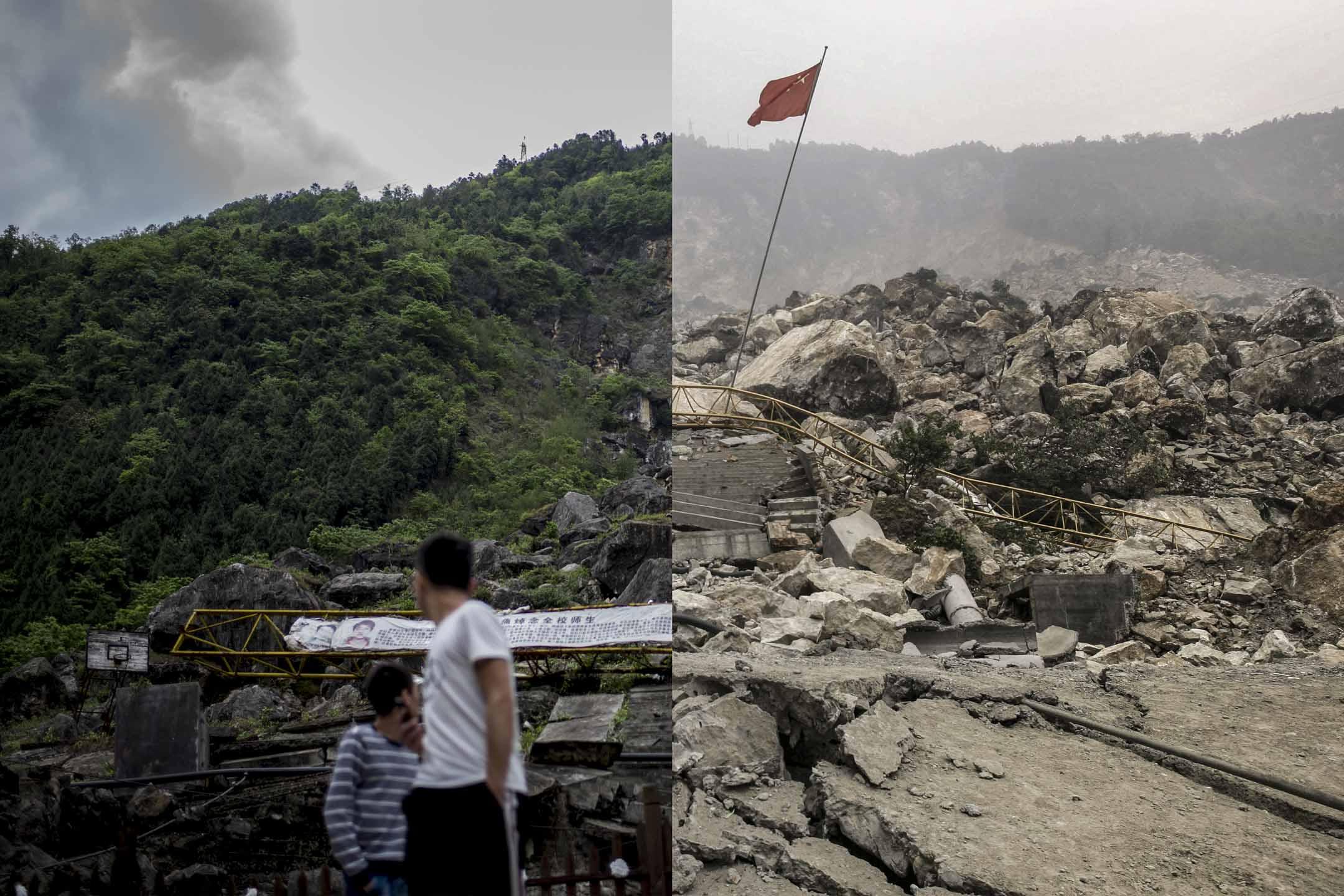 2018與2008,十年前後的北川茅壩初中。 設計圖片
