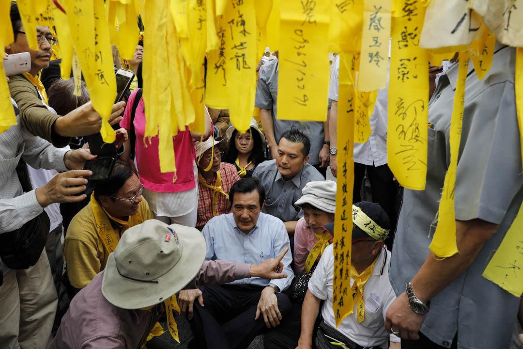 前總統馬英九以校友身份前往聲援。