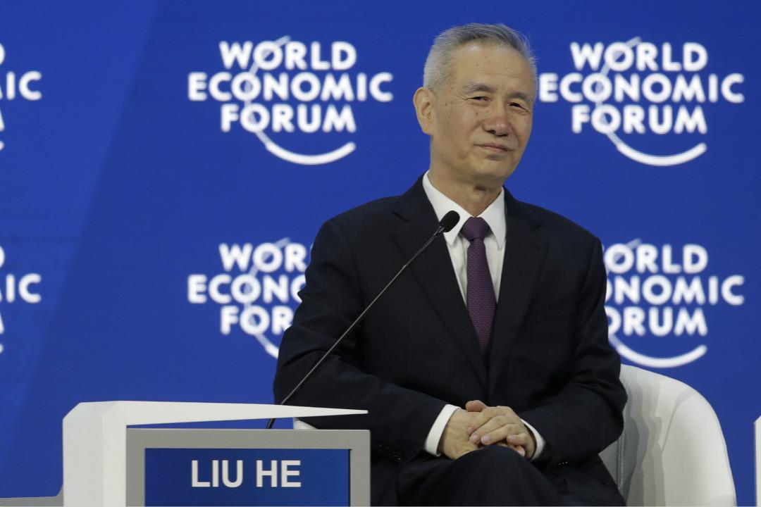2018年1月24日,瑞士達沃斯,達沃斯世界經濟論壇2018年年會舉行,中共中央政治局委員、中央財經領導小組辦公室主任劉鶴出席並發表致辭。   攝:Imagine China
