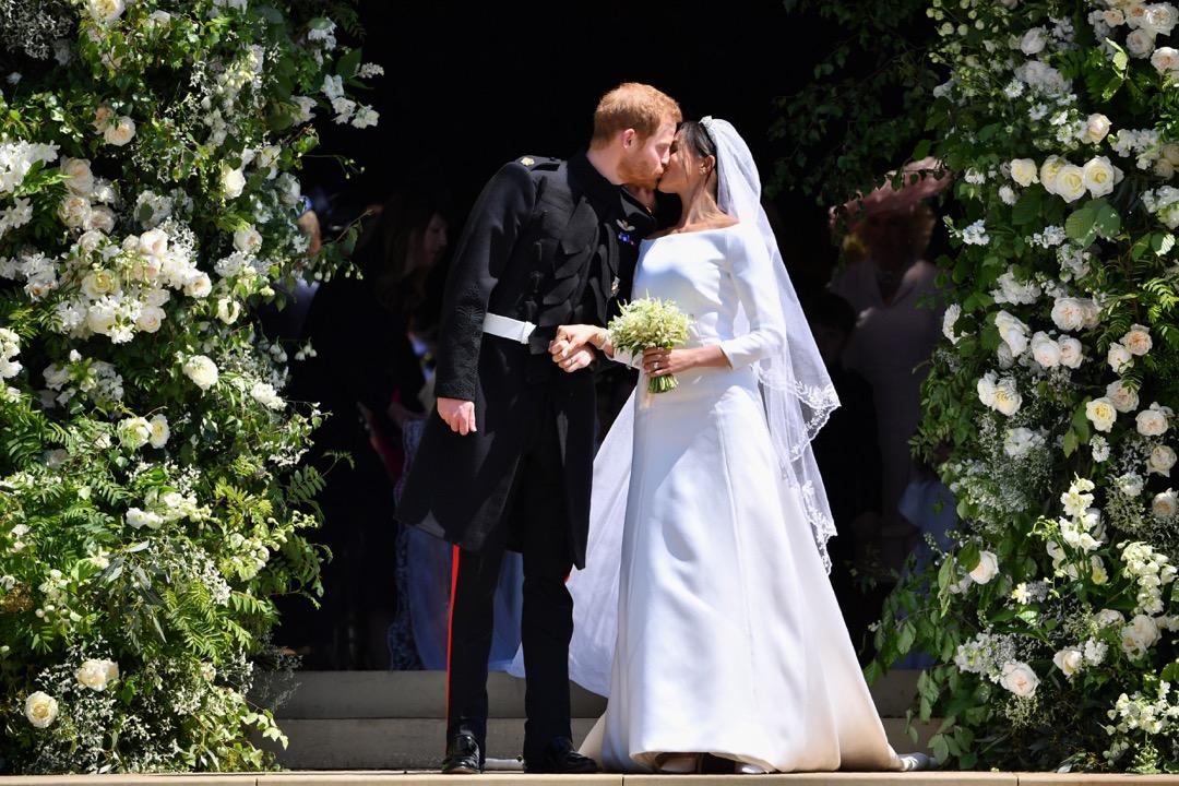 2018年5月19日,哈里王子與美國影星馬克爾在英國溫莎堡舉行大婚。 攝:Ben Stansall/WPA Pool/Getty Image