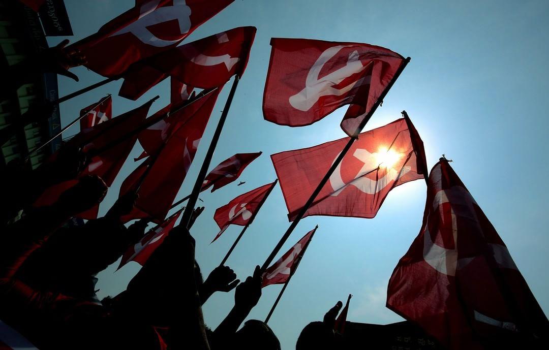 2018年5月1日,勞動節,印度城市班加羅爾有來自不同工會組織的成員參與勞動節遊行。