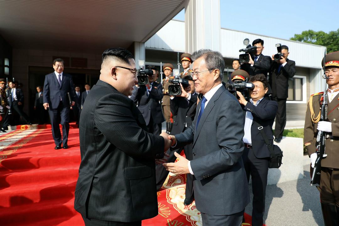 2018年5月26日,北韓最高領袖金正恩與韓國總統文在寅再度會面。 攝:Getty Images
