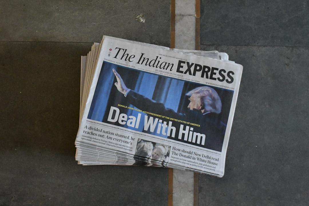 華府從印度身上看見了中國的影子,利用美國領導的自由秩序而壯大自己的實力,這就讓美國在某種程度上對印度有所防範。圖為2016年11月,印度報章以特朗普勝出大選後作為頭條。